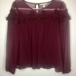 Womens Lauren Conrad long sleeve lace blouse